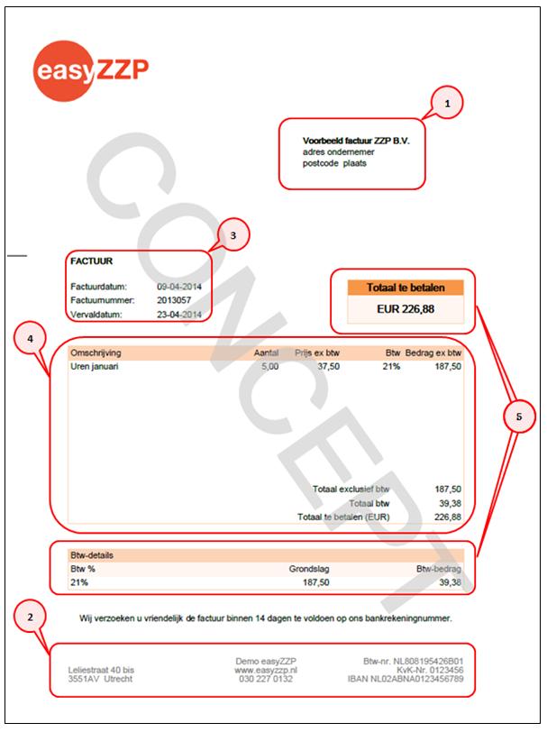 factuur opstellen zzp EasyZZP   Voorbeeld factuur ZZP met toelichting en regelgeving
